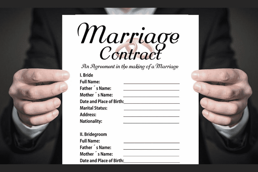 man holding a marriage contract